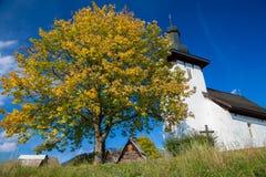 村庄的Martincek,斯洛伐克Templar教会 免版税库存照片
