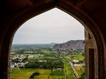 村庄看法从堡垒的画廊的在泰米尔・那杜,印度 图库摄影