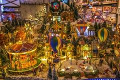 村庄缩样在梅拉诺圣诞节市场上在意大利 免版税图库摄影