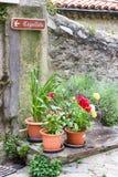 村庄视图,小和美丽如画的法国村庄,列斯的成员加上花花公子村庄de法国法国的多数美丽的村庄 免版税图库摄影