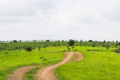 村庄轨道和草原 库存照片