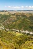 村庄鸟瞰图在法国 库存照片