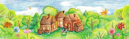 村庄(农场)谷的 向量例证
