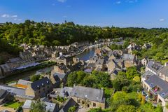 村庄Dinan在布里坦尼-法国 图库摄影