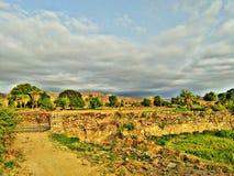 村庄guda早晨视图的自然秀丽 库存照片