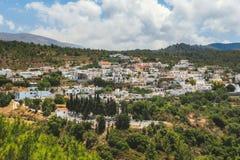 村庄Kritinia罗得岛的全景 希腊 免版税库存图片