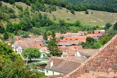村庄Malancrav,特兰西瓦尼亚的鸟瞰图 库存图片