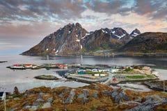 村庄Sund在日出的挪威 库存照片