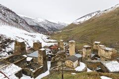 村庄Ushguli在高加索山脉,乔治亚 免版税库存照片