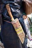村民的刀子的细节属于中国minorit的 免版税库存照片
