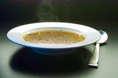杓子汤到平底锅有汤背景 免版税库存照片