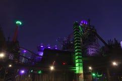 杜伊斯堡,德国- 2015年5月17日:Landschaftspark照亮了 免版税库存图片