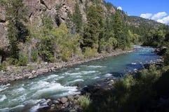 从杜兰戈的窄片铁路通过落矶山由河生命负责在科罗拉多美国的Silverton的 免版税库存图片