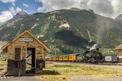 杜兰戈Silverton窄片火车 免版税图库摄影