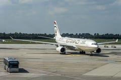 杜塞尔多夫德国03 09 2017年阿联酋联合航空飞机在机场第二大航空公司的,阿联酋 图库摄影