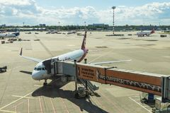 杜塞尔多夫机场在杜塞尔多夫,德国 免版税库存图片