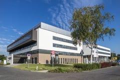 杜塞尔多夫,德国- 2017年9月04日:将完成弗罗伦斯・南丁格尔医院的新的大厦  免版税图库摄影