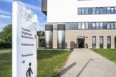 杜塞尔多夫,德国- 2017年9月04日:将完成弗罗伦斯・南丁格尔医院的新的大厦  免版税库存图片