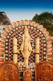 杜尔加神象,书刊上的图片,印地安工艺品公平在加尔各答 免版税库存图片