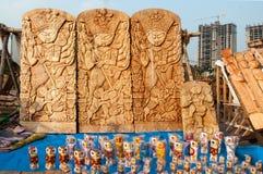 杜尔加神象,书刊上的图片,印地安工艺品公平在加尔各答 库存图片