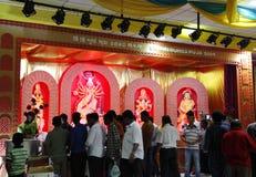 杜尔加Puja是印度节日在庆祝worsh的南亚 库存图片