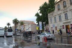 杜布罗夫尼克市多雨街道 库存图片