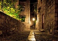 杜布罗夫尼克市晚上街道 图库摄影