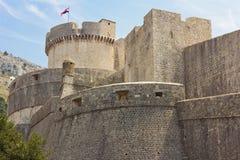 杜布罗夫尼克市,克罗地亚城市墙壁  免版税库存图片