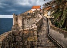 杜布罗夫尼克老城市墙壁  克罗地亚 免版税库存图片