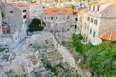 杜布罗夫尼克老市废墟 免版税库存照片