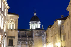 杜布罗夫尼克,克罗地亚,夜视图 免版税库存图片