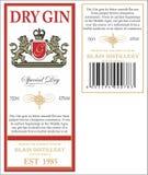 杜松子酒标签 免版税库存照片
