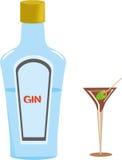 杜松子酒瓶和马蒂尼鸡尾酒玻璃 免版税库存图片