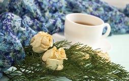 杜松茶与干玫瑰的和分支  免版税库存图片