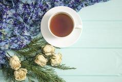 杜松茶与干玫瑰的和分支  库存照片