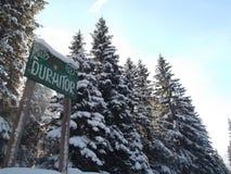 杜米托尔国家公园国家公园,有商标的绿色木板 库存图片