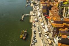 杜罗河河顶视图在波尔图的中心 库存照片