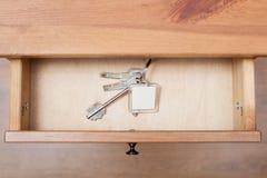束与keychain的门钥匙在开放抽屉 图库摄影
