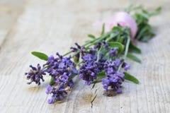 束在土气木背景的开花的淡紫色与co 免版税库存照片