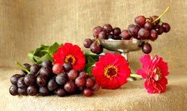 束在明亮的颜色背景的成熟葡萄  库存图片