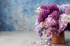 束在木桶匠葡萄酒水罐的淡紫色花 蓝色背景拷贝空间 库存图片