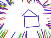 束在框架的五颜六色的棍子在白色隔绝了背景 免版税库存图片