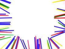 束在框架的五颜六色的棍子在白色隔绝了背景 库存照片