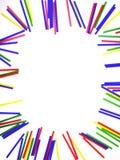束在框架的五颜六色的棍子在白色隔绝了背景 库存图片