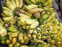 束成熟的有机香蕉在农夫市场上 免版税库存照片