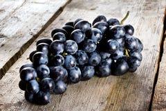 束成熟水多的蓝色葡萄 库存照片