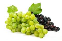 束成熟绿色和红葡萄 免版税库存图片