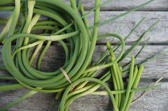 束新近地被采摘的大蒜scape在农夫市场上 图库摄影