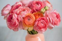 束淡粉红的毛茛属波斯毛茛光背景,木表面 玻璃查出的花瓶白色 库存图片