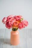 束淡粉红的毛茛属波斯毛茛光背景,木表面 玻璃查出的花瓶白色 免版税库存照片